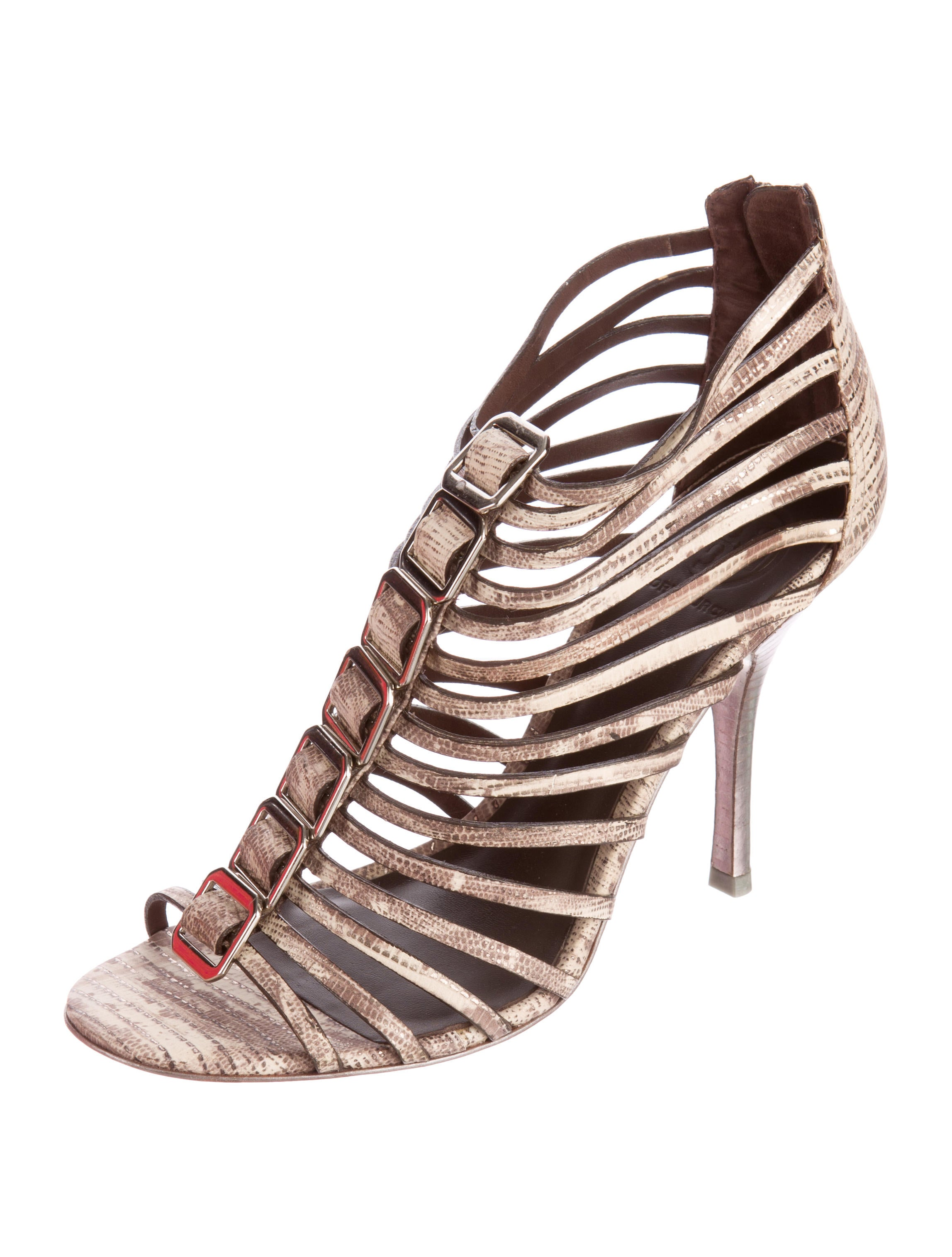 deals online outlet with paypal Tory Burch Embossed Cage Sandals cheap sale outlet store DyneD8fh