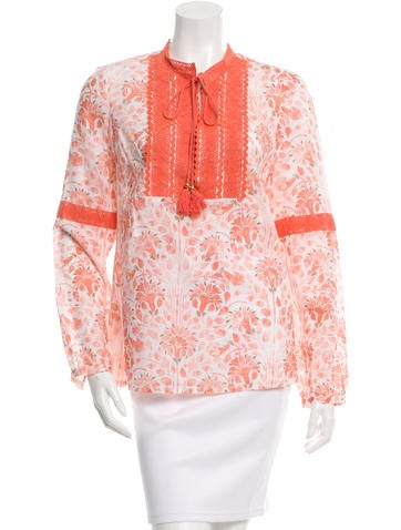 Tory Burch Crochet-Trimmed Floral Print Top