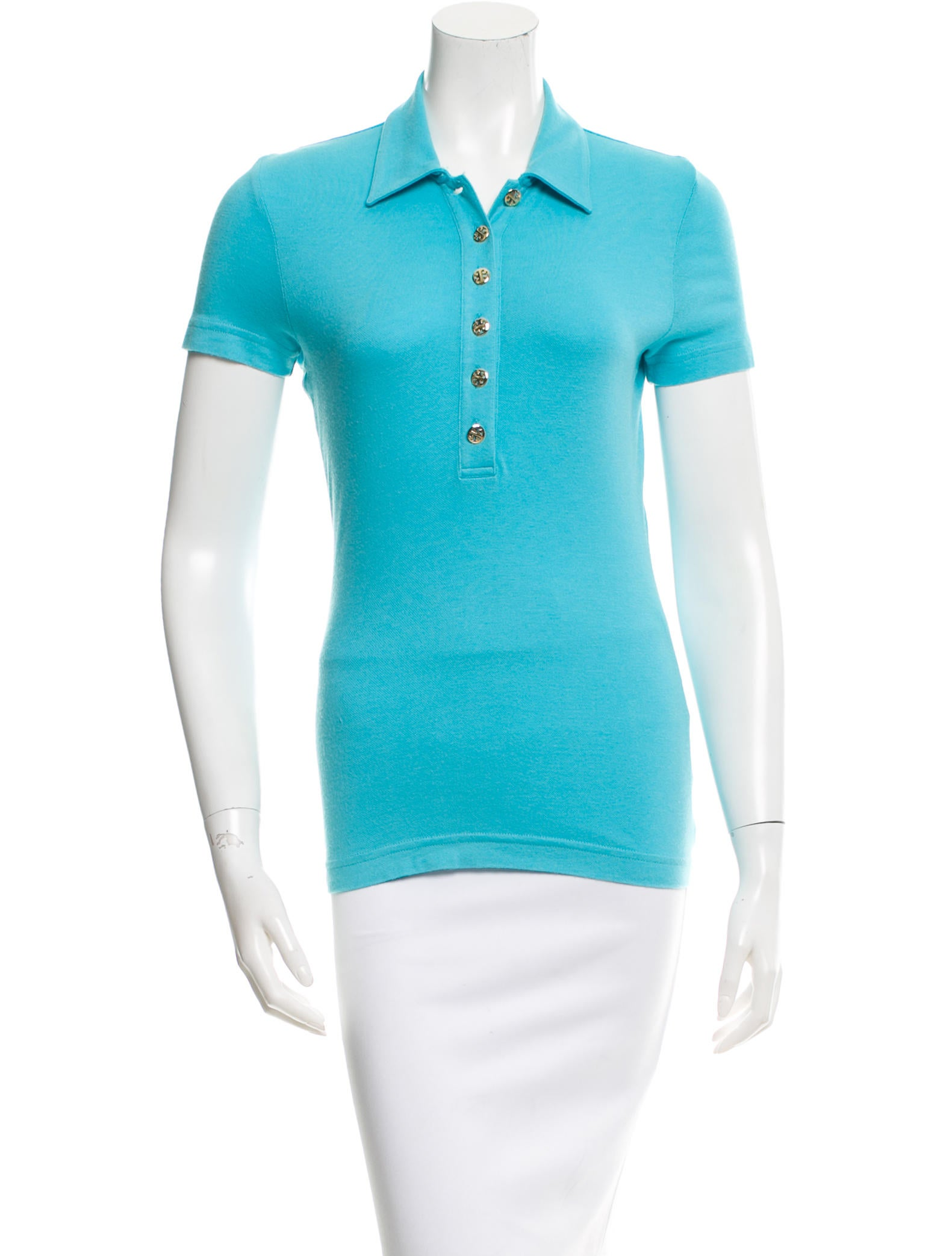 Tory burch button up polo top clothing wto68183 the for Womens button up polo shirts