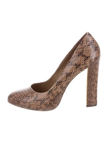 Tory Burch Snakeskin Round-Toe Pumps None