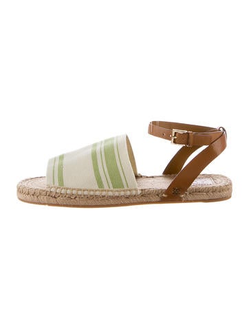 Tory Burch Stretech-Canvas Espadrille Sandals None