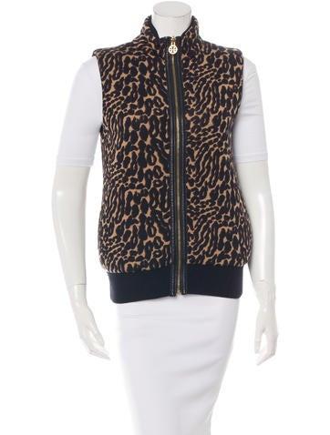 Tory Burch Wool Leopard Vest None