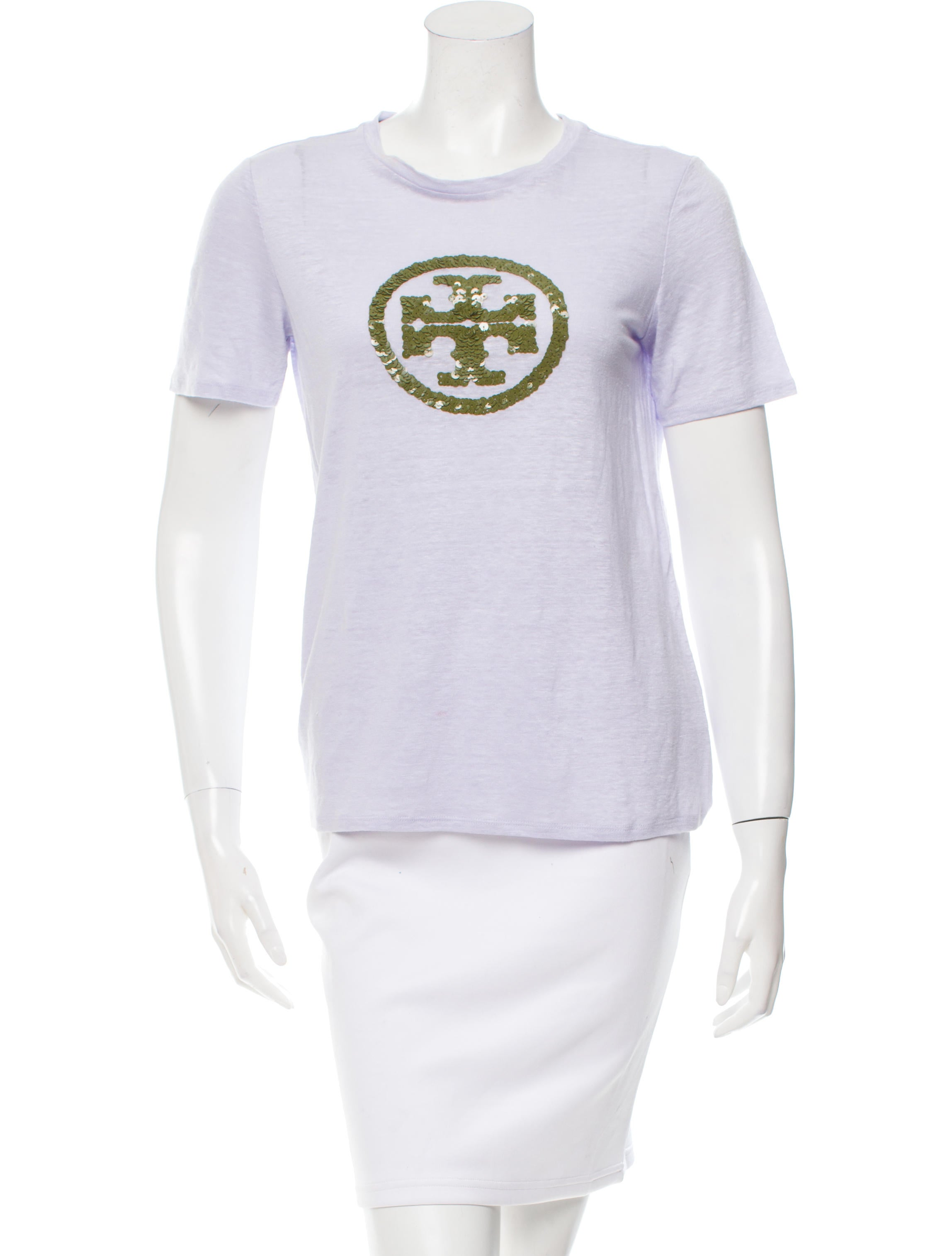 Tory burch sequined short sleeve t shirt clothing for Tory burch t shirt