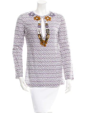 Tory Burch Embellished Printed Top None