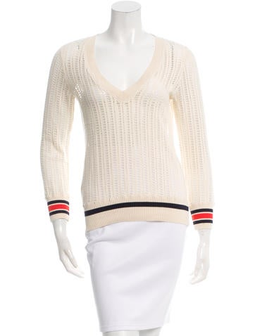Tory Burch Open Knit V-Neck Top None