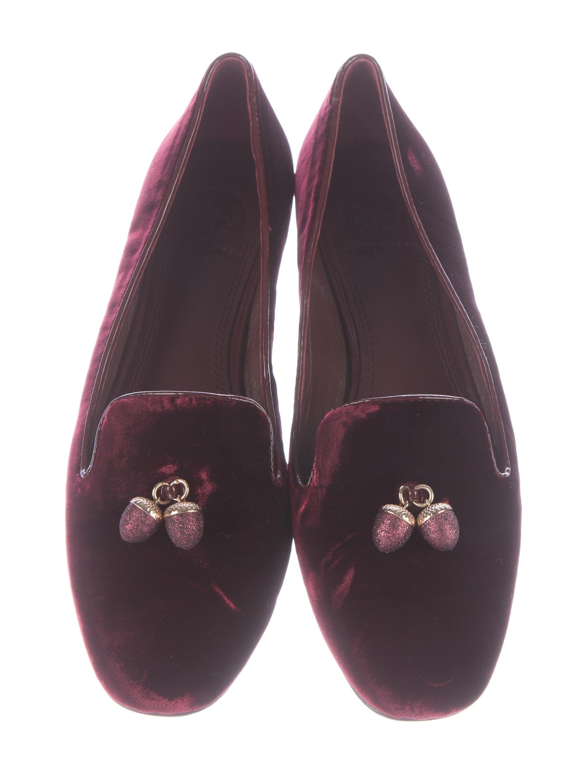 Tory Burch Acorn Carm Velvet Loafers cheap sale great deals EjCspp