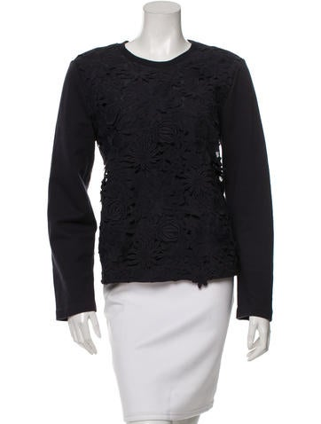 Tory Burch Embroidered Lace Sweatshirt None