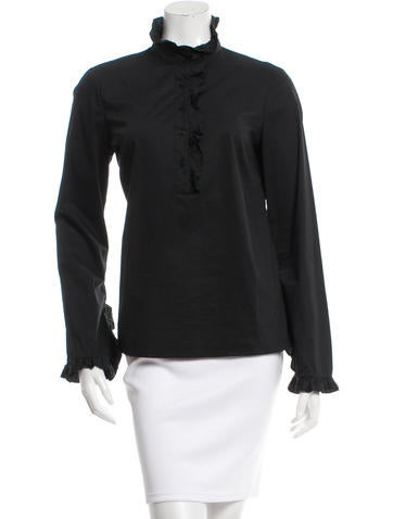 Tory Burch Long Sleeve Button-Up Top None