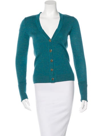 Tory Burch Rib Knit Wool Cardigan None