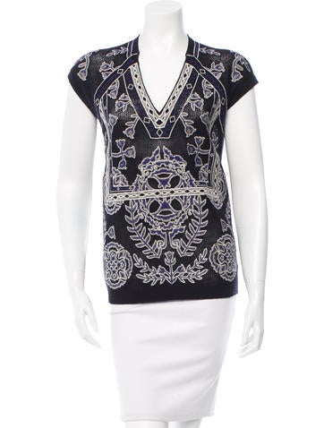 Tory Burch Merino Wool Embroidered Top None