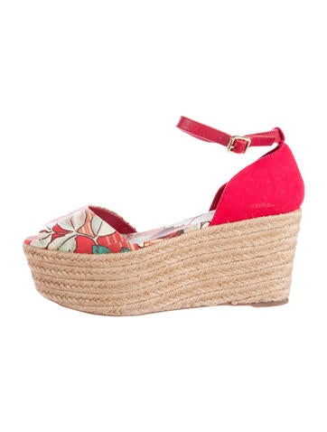 Tory Burch Floral Canvas Wedges None