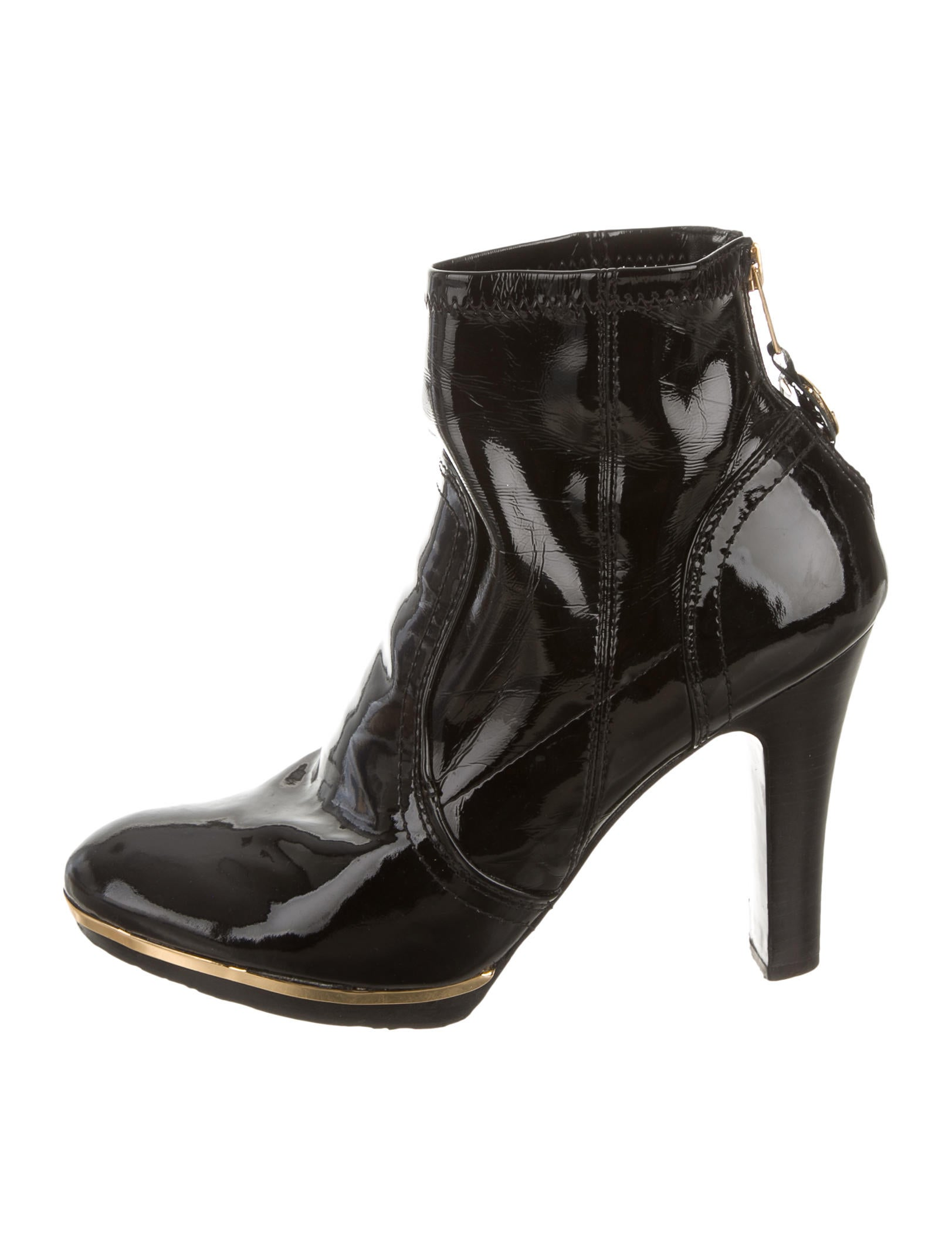 Tory Burch Black Patent Leather Booties Shoes Wto75026