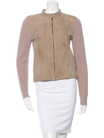 Tory Burch Leather-Accented Wool Jacket None