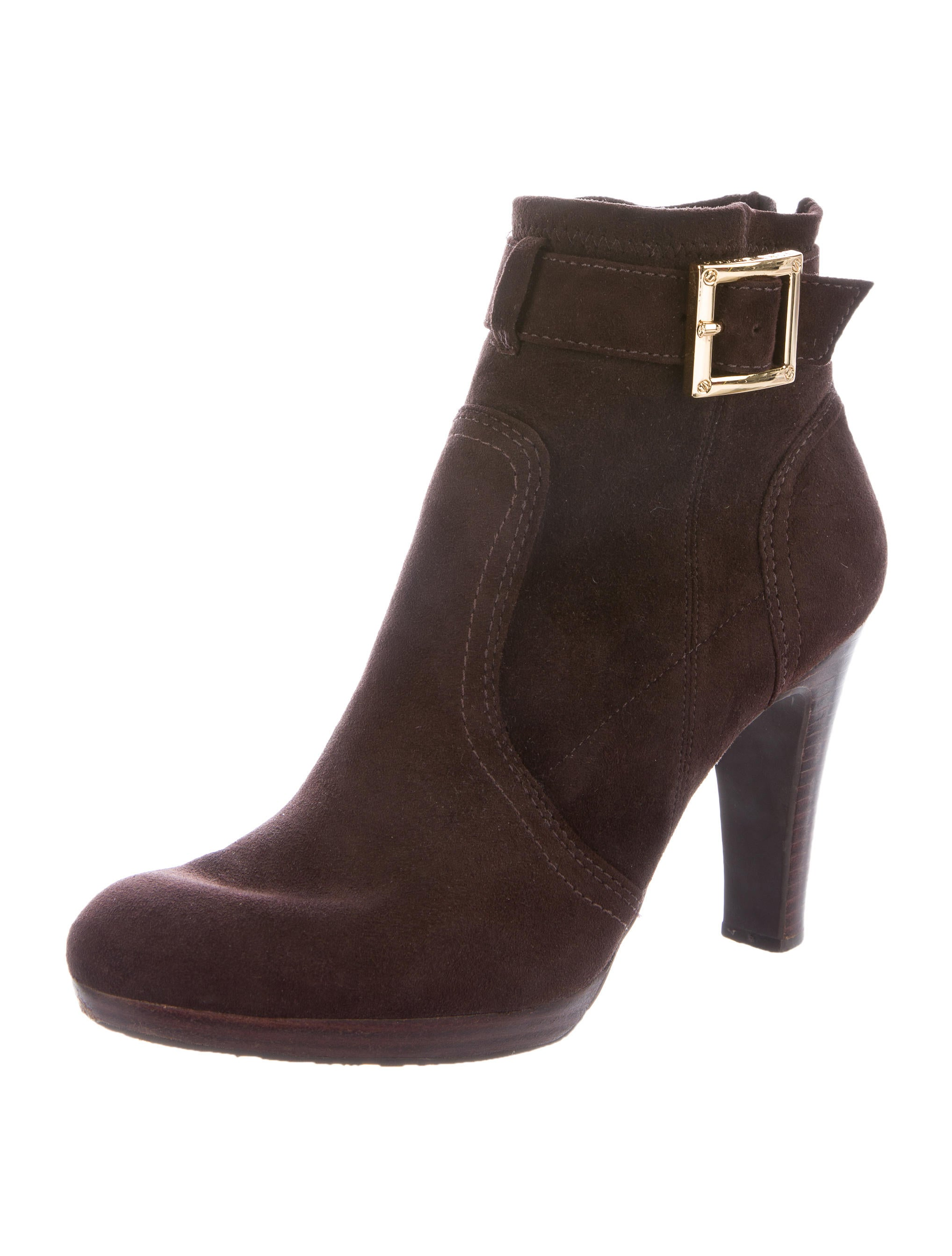 burch suede buckle accented ankle boots shoes wto75365 the realreal