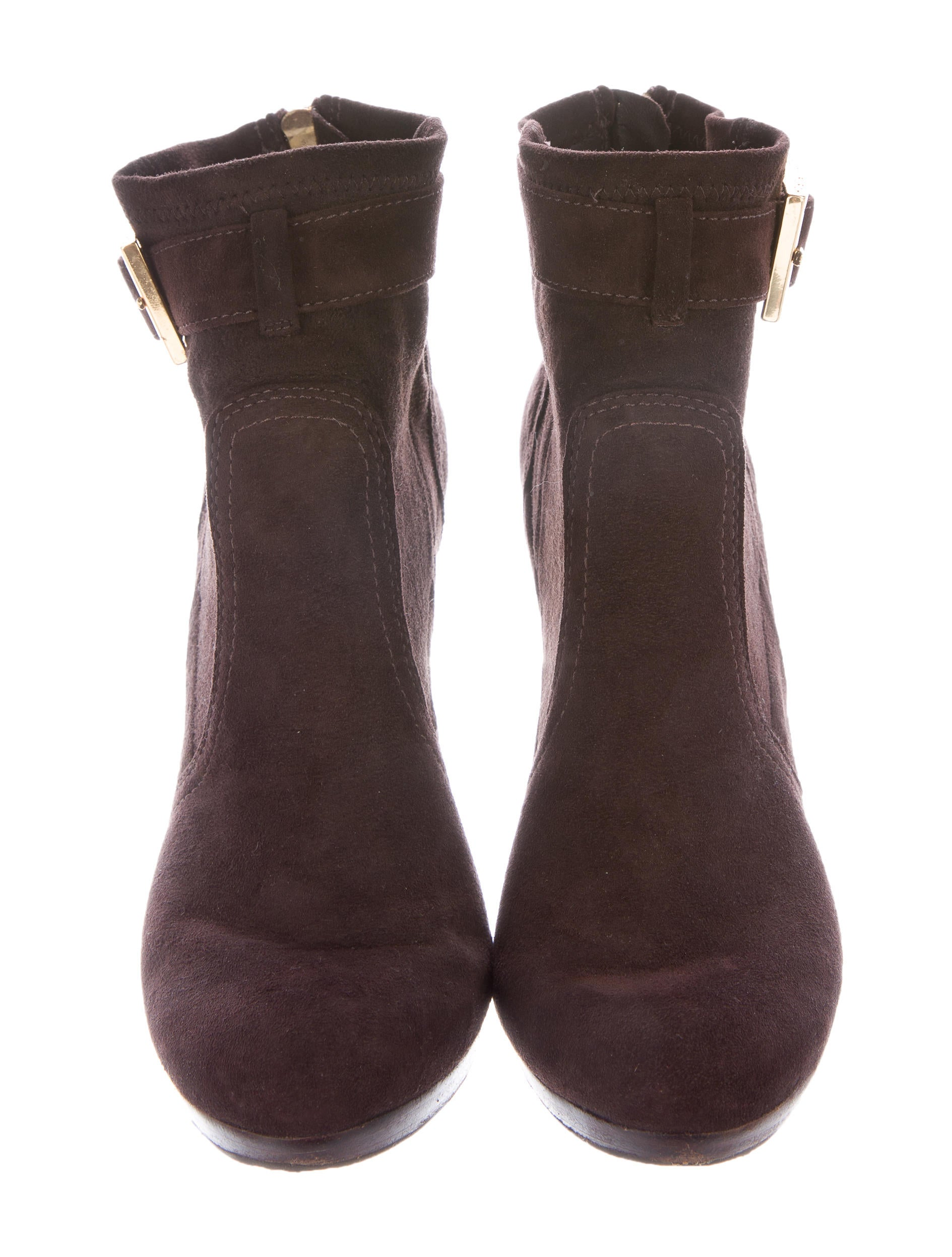 burch suede buckle accented ankle boots shoes