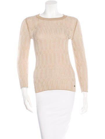 Tory Burch Striped Rib Knit Sweater None