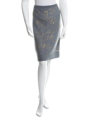Tory Burch Metallic-Accented Knit Skir None