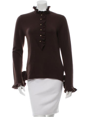 Tory Burch Cashmere Ruffle-Accented Top None