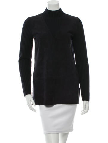Tory Burch Wool Leather Sweater None