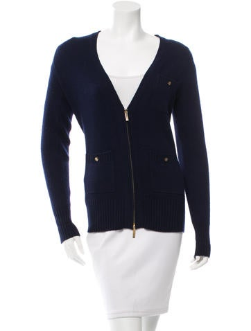 Tory Burch Cashmere Rib Knit Cardigan None