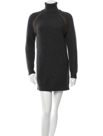 Tory Burch Wool Turtleneck Sweater Dress None