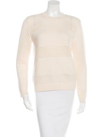 Tory Burch Wool Open Knit Sweater None