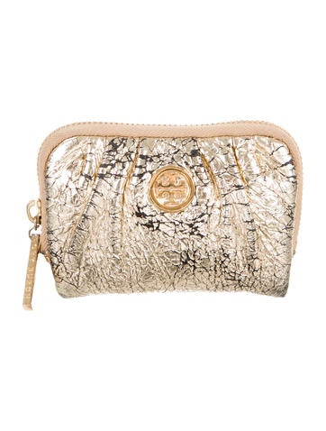 Tory Burch Metallic Logo-Embellished Coin Pouch None