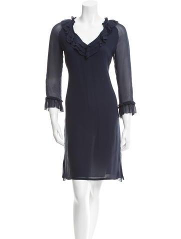 Tory Burch Silk Ruffle-Accented Dress None