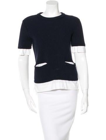 Tory Burch Rib Knit Short Sleeve Sweater None