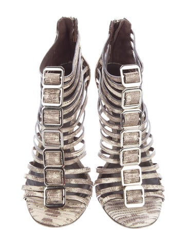 Cuba Embossed Cage Sandals