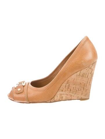Leather Peep-Toe Wedges