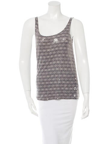 Tory Burch Sleeveless Sequined Top None