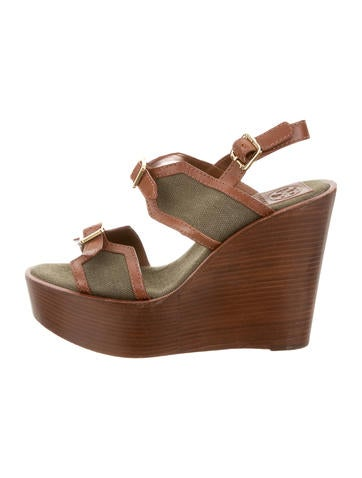 Tory Burch Woven Platform Wedges None