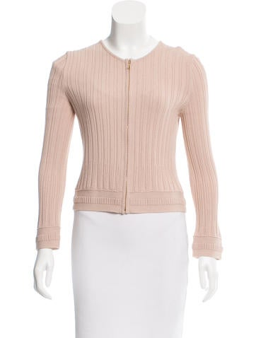 Tory Burch Rib Knit Zipped Sweater None