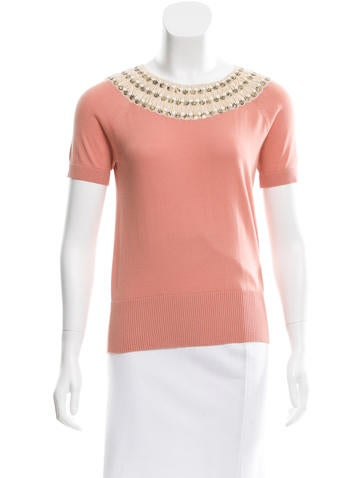 Tory Burch Embroidered Knit Top None