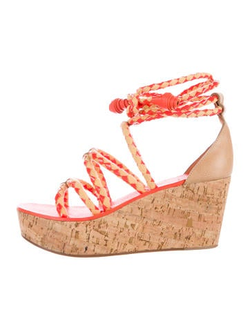 Tory Burch Lace-Up Cork Wedges None