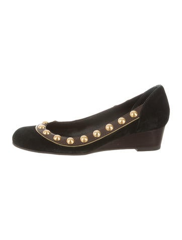 Tory Burch Suede Studded Wedges None