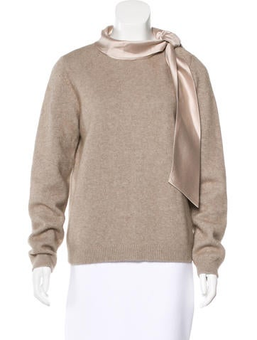 Tory Burch Cashmere Silk-Trimmed Sweater None