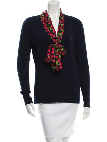 Tory Burch Silk-Accented V-Neck Sweater w/ Tags None