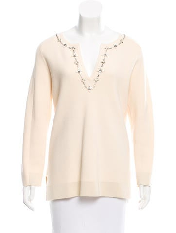 Tory Burch Embellished Wool Swetaer None
