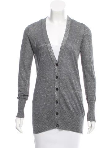 Tory Burch Metallic-Accented Rib Knit Cardigan None