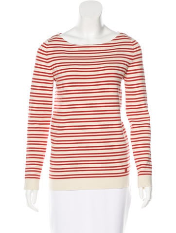 Tory Burch Striped Rib Knit Top None