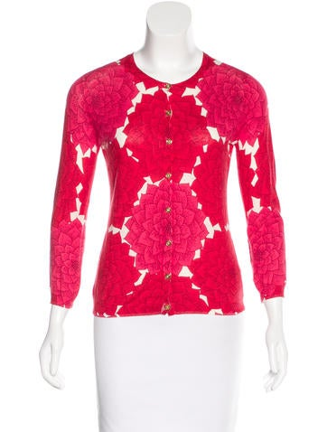 Tory Burch Floral-Printed Crew Neck Cardigan None
