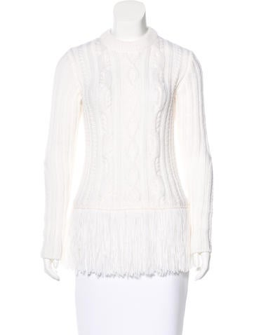 Tory Burch Wool-Blend Fringe-Trimmed Sweater None
