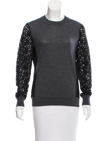 Tory Burch Wool Lace-Accented Top None