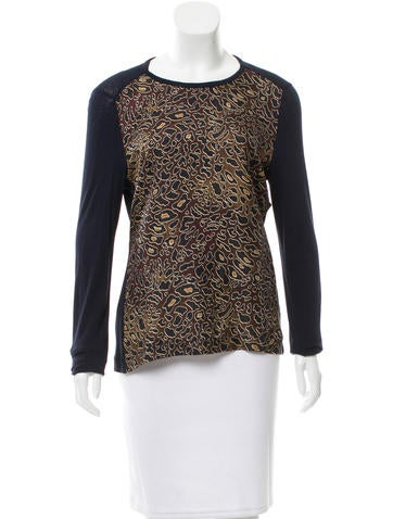 Tory Burch Silk-Blend Printed Top w/ Tags None