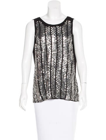 Tory Burch Silk Embellished Top None