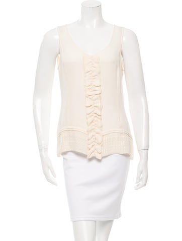 Tory Burch Silk Ruffle-Trimmed Top None