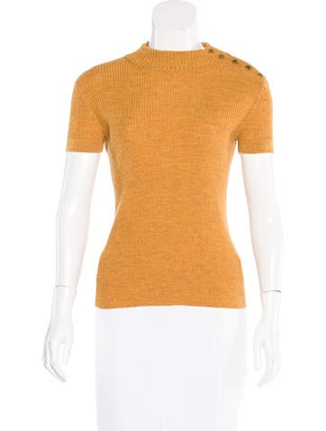 Tory Burch Button-Accented Merino Wool Top None