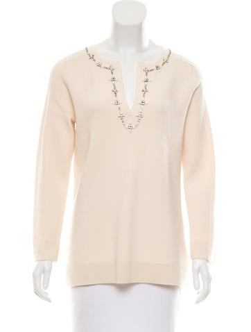 Tory Burch Wool Embellished Sweater None